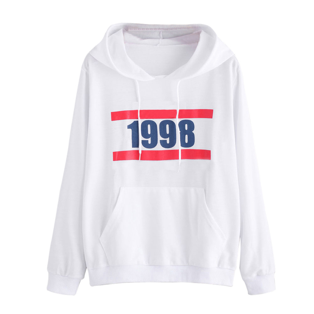 Simple Design White Sweatshirt Hooded Tops Womens Autumn Long Sleeve Casual Print Pullover Ladies Oversized Shirts Cropped #Zer