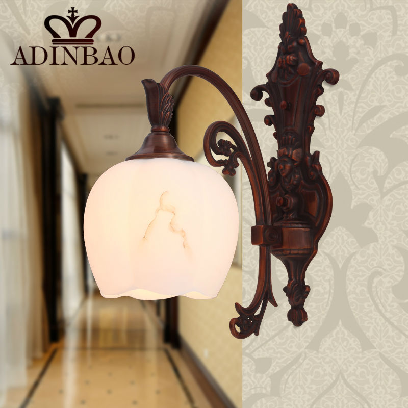 ФОТО European Style Vintage Copper Wall Sconce Switch Led Wall Lamp Corridor Light 8005-1