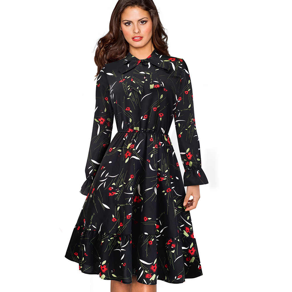 Женское винтажное платье в горошек Nice-forever, элегантное трапециевидное платье с бантом, для офиса и вечеринок, модель A130, 2019