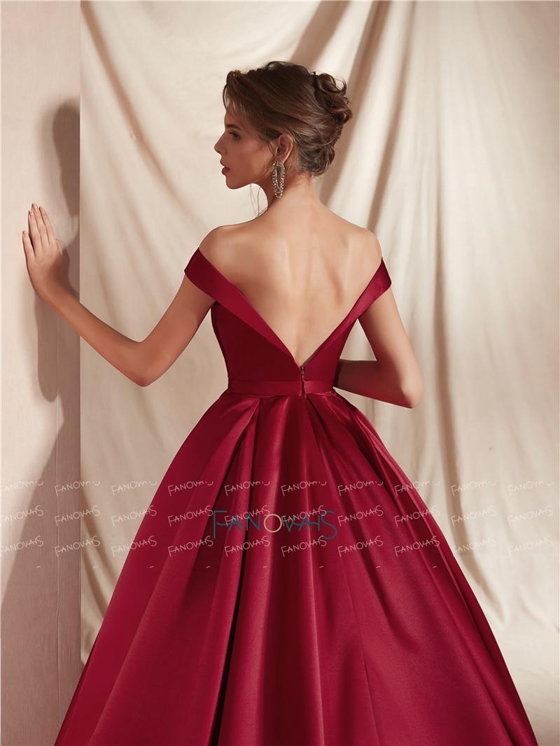 Satin Burgundy Evening Dresses 2019 Off the Shoulder Princess Ball Gown Evening Gowns Long Train Vestido de Fiesta NE18