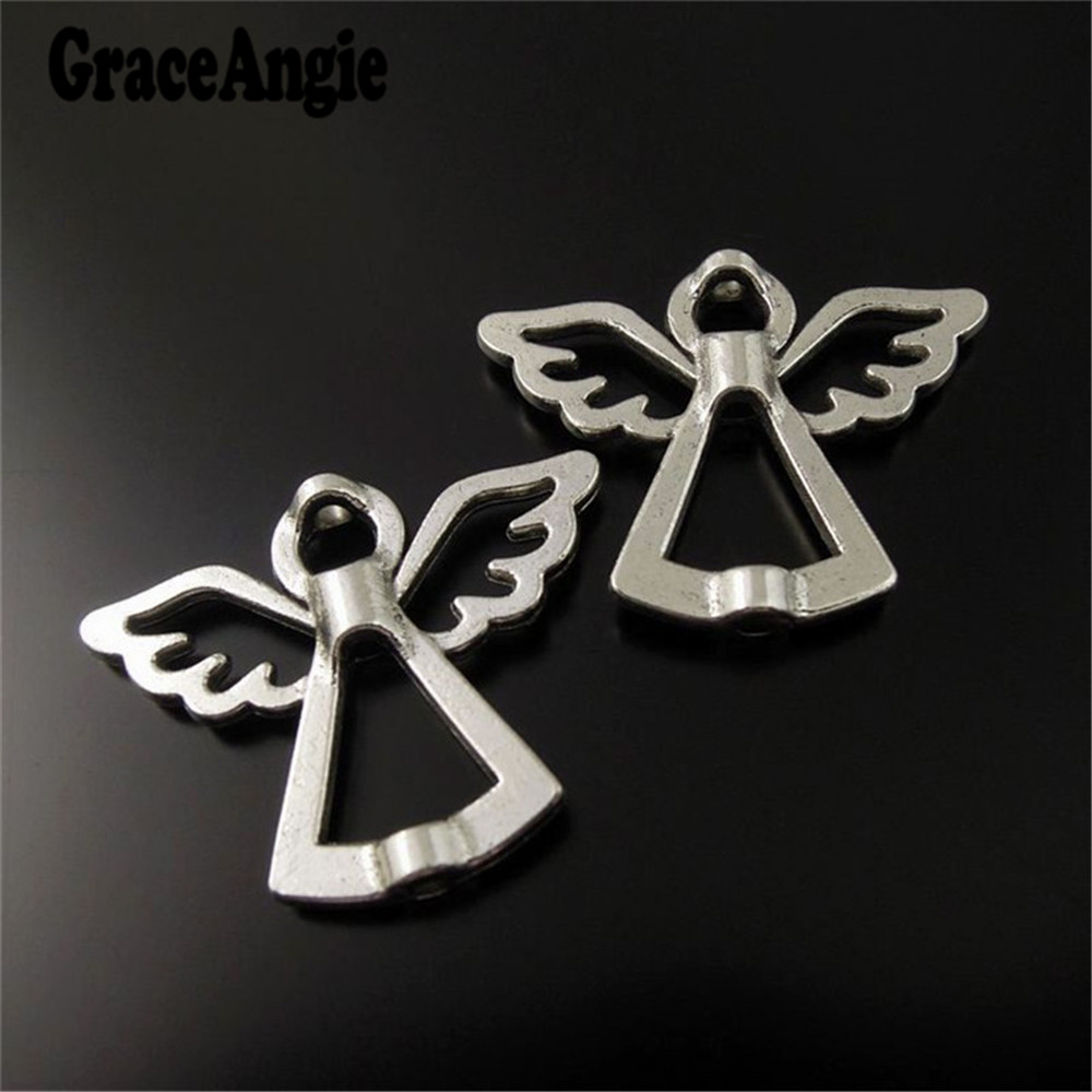 Wholesale 35pcs Vintage Style Antique Silver Alloy Angel Wings Spacer Beads Jewelry Making