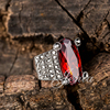 Big Red Zircon Ring Thai Silver Plated Marcasite Ring Best Gift Choice Jenia XR204