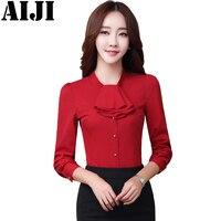 Elegant Ruffles Shirt Women OL Formal Slim O Neck Collar Long Sleeve Chiffon Blouse Office Ladies