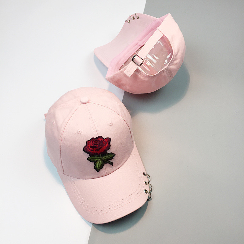 8146b4a8d96 Rose Dad Hats Floral Trucker Hat Baseball Cap With Ring Summer Women Black  Cotton Hip Hop Snapback Female Caps Casual Adjustable-in Baseball Caps from  ...