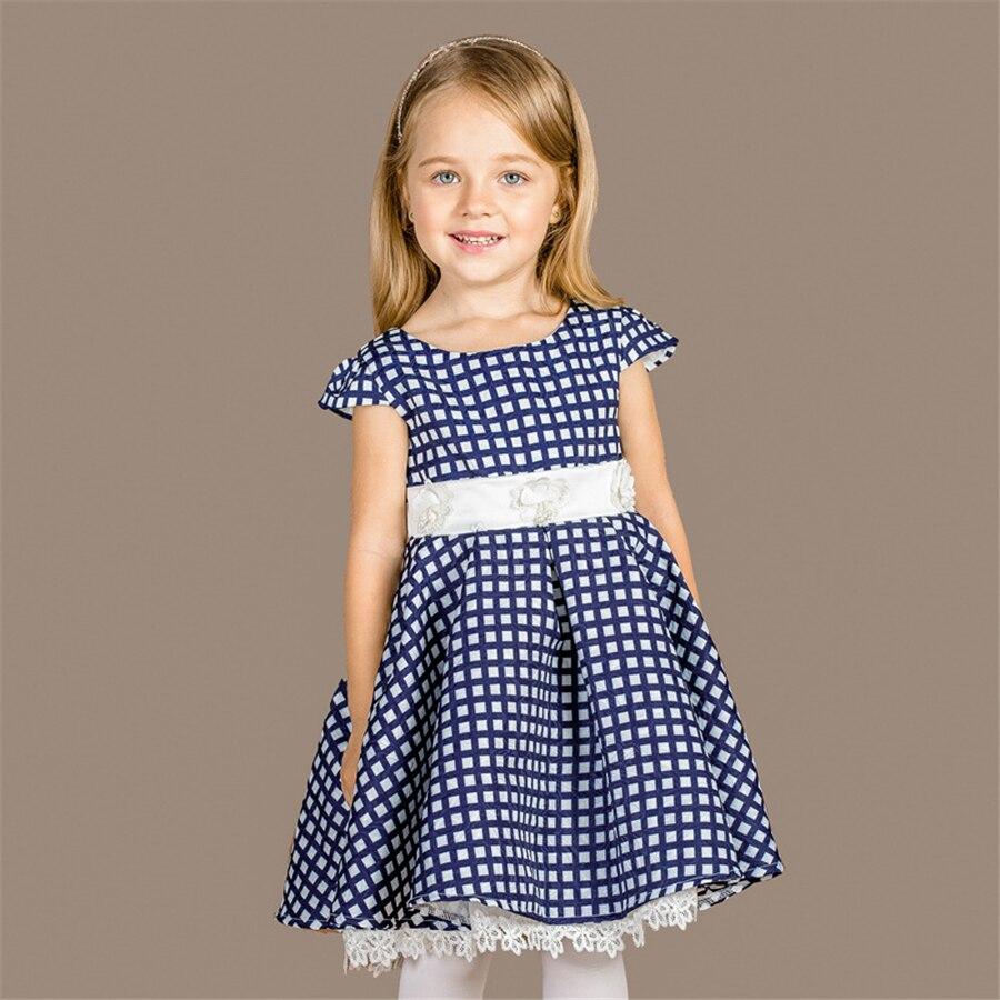 Mädchen Kleid Blau Gitter Druck Baumwolle Sommer Prinzessin Weiß ...