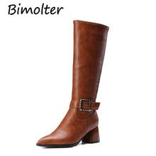 Bimolter Women Winter Thigh High Boots Female Knee-High Zipper Buckle Strap Heel Riding Big Size 32-43 PAEA043