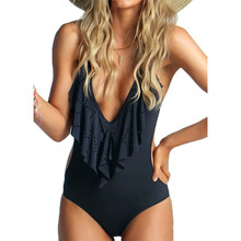 BXXNXX High Neck Flouncing High Cut Trikini  One Piece Swimsuit Monokini Bathing Swim Suit For Women Thong Swimwear