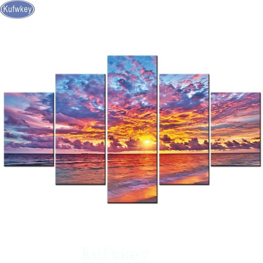 hobby 5diy 5 pcs Diamond Painting Sunset Sea Cross Stitch Full Diamond Embroidery Diamond Mosaic pattern