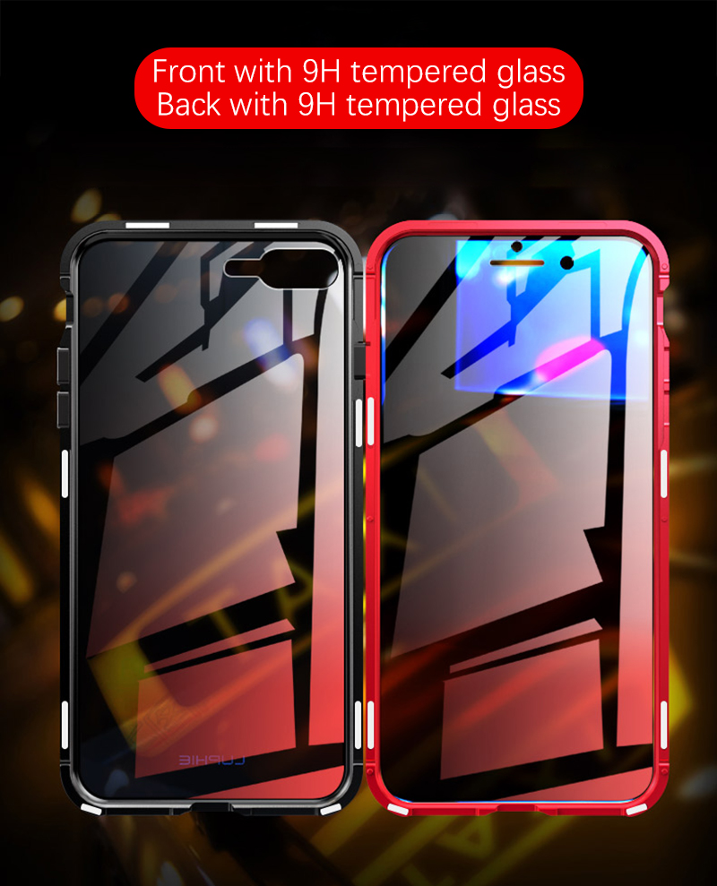 Luxury Double sided front+back clear glass metal Magnetic case for iphone 7 8 plus iphone X XR XS Max phone case 360 cover coque (1)