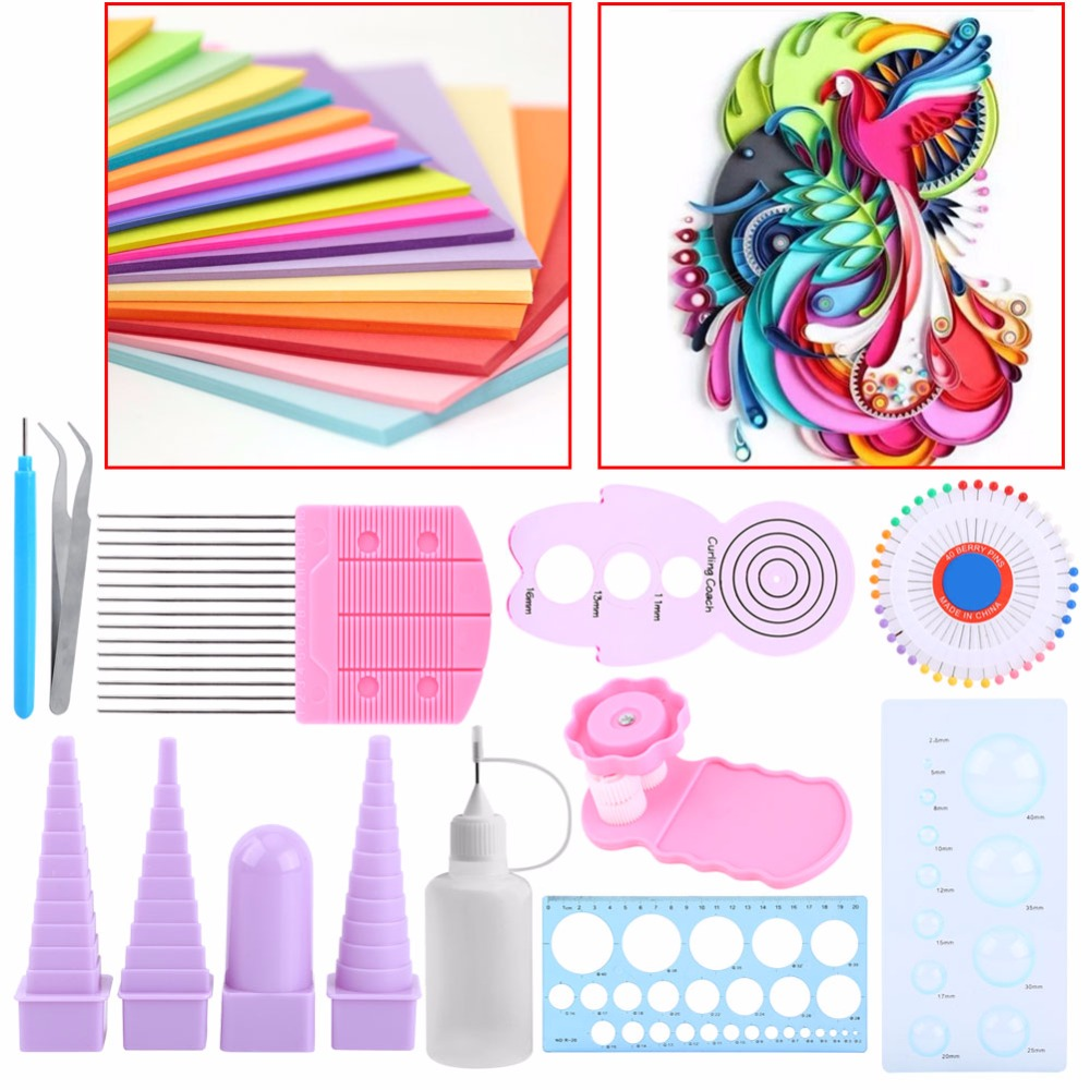 11 In 1 Handmake Paper Template DIY Paper Quilling Tools Set Template Mould Board Tweezer Pins Slotted Tool Kit Card Paper Crafs