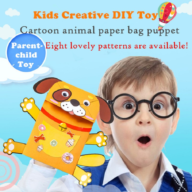 Kids DIY Cartoon Animal Paper Bag Hand Puppet Children DIY Creative Puzzle Parent-child Toys Handmade Craft Toy Material Package