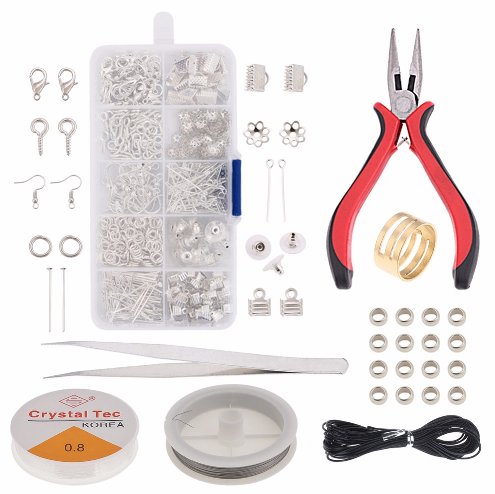 Jewelry Making Supplies  Kit Jewelry Repair PliersTool  Jewelry Findings Kit .Beading Cord Jump Rings and Lobster Clasps KY001 jewelry making
