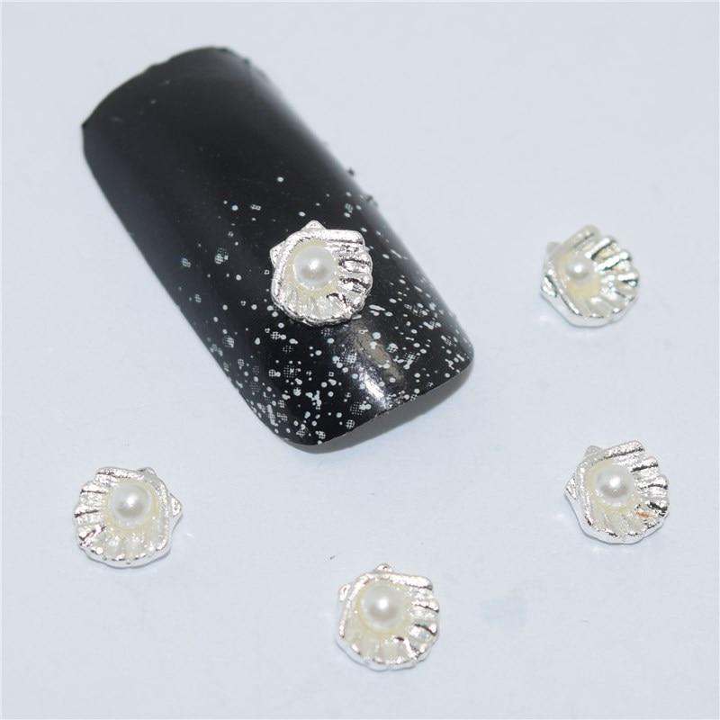 10psc New Rhinestone Silver shells 3D Nail Art Decorations,Alloy Nail Charms,Nails Rhinestones  Nail Supplies #540 лаки для ногтей essie professional лак для ногтей 736 изысканный смокинг luxedo