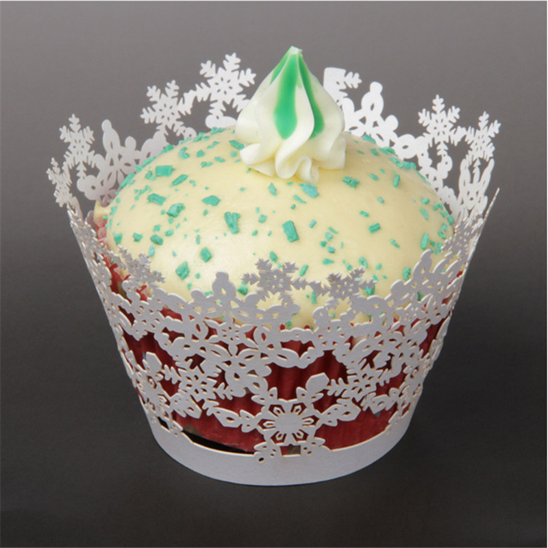 50pcs/lot Laser Cut Cupcake Wrappers chic snow design wedding invitations Christmas decoration for home/party/birthday/new year