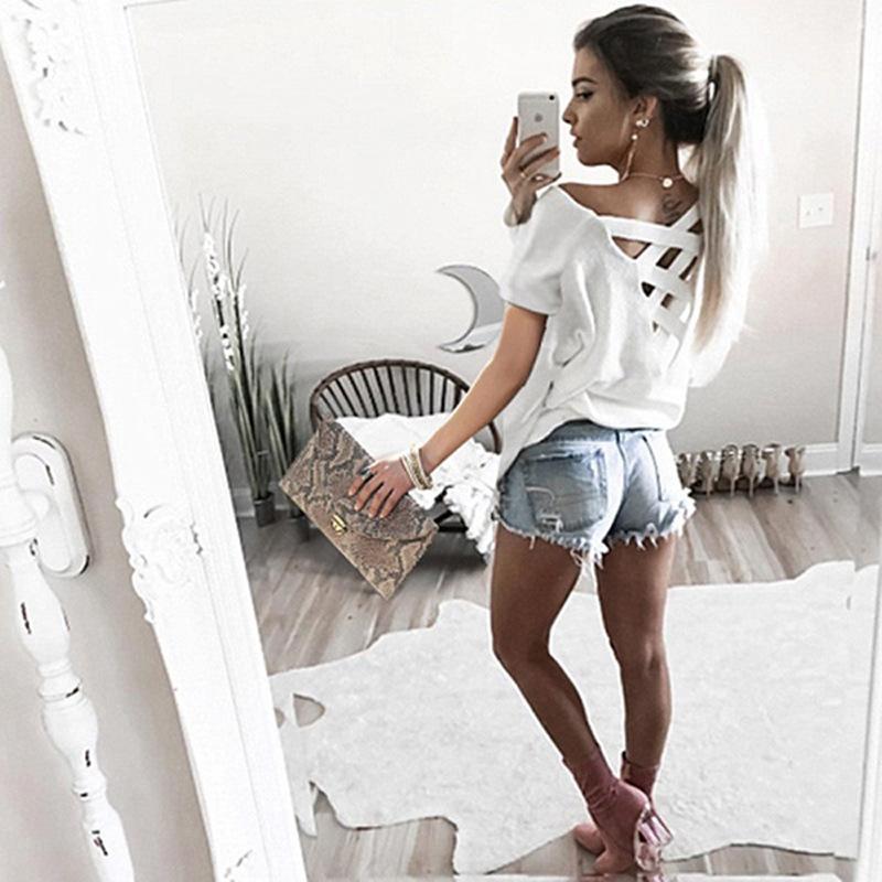 Women's Sexy Backless Hollow Bandage Punk Tee Shirt, Woman's Short Sleeve Summer T-Shirt 9