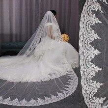 גבוהה באיכות מסודר תחרת קצה ארוך חתונת רעלה מותאם אישית קתדרלת שכבה אחת כלה רעלה עם מסרק Welon 2019