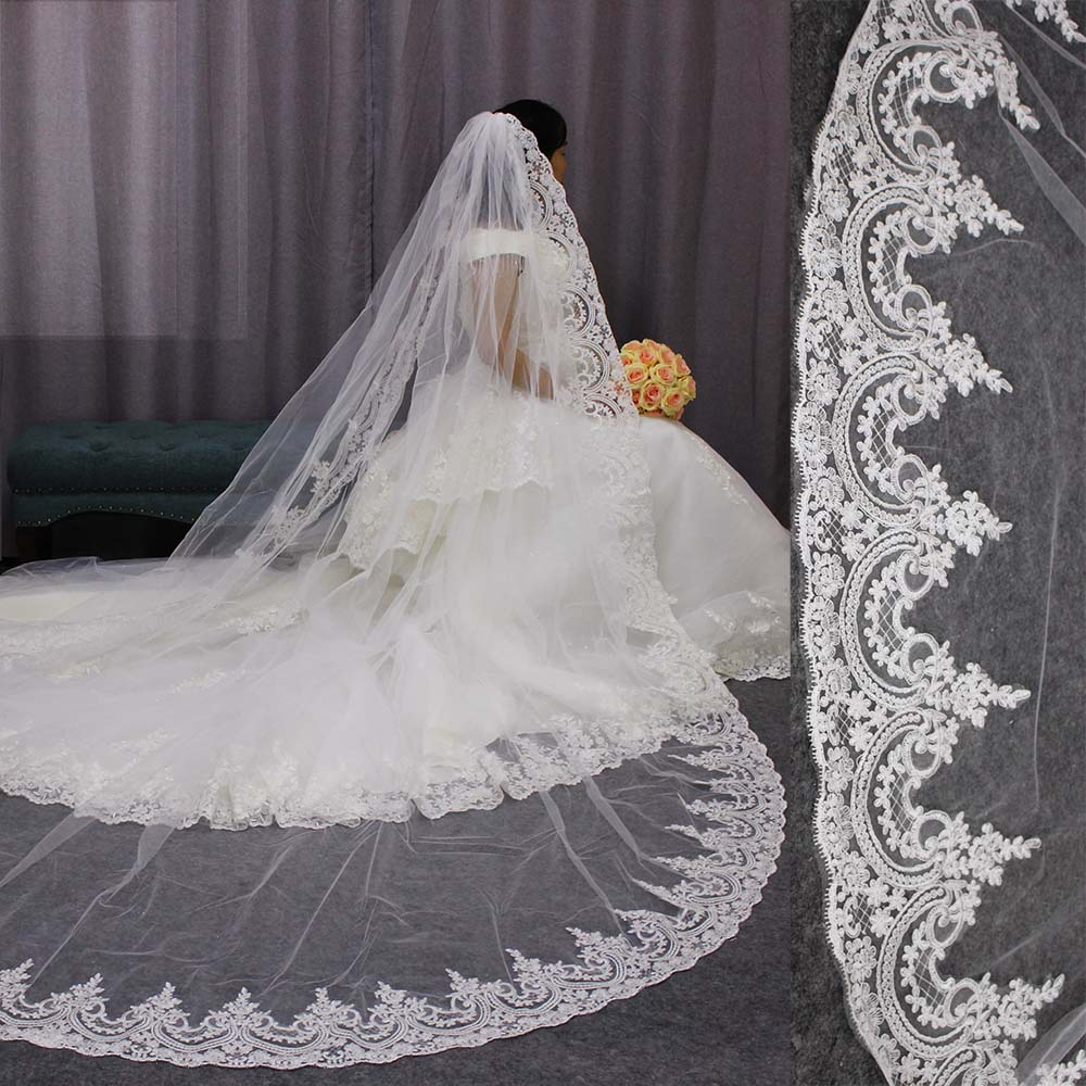 High Quality Neat Lace Edge Long Wedding Veil Customized Cathedral One Layer Bridal Veil With Comb Welon 2019