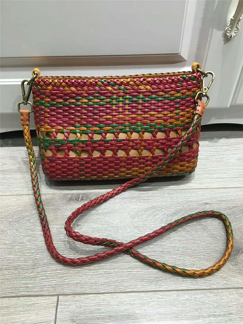 handmade leather weave use rattan craft women crossbody Bags Quality genuine Leather Weaving women handbag handmade rattan weaving craft top handle genuine leather bags women