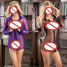e8431b0820c Intimate Temptation Pajamas Sexy Lady Transparent Long Jump Dress Sexy Mesh  Deep V Hollow Erotic Lingerie