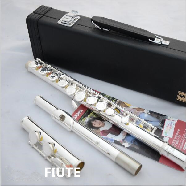 NEW! Top Music fluteYFL-210/YFL 271 16 hole / 17open /obturator C pur silver E key flute musical instrument free