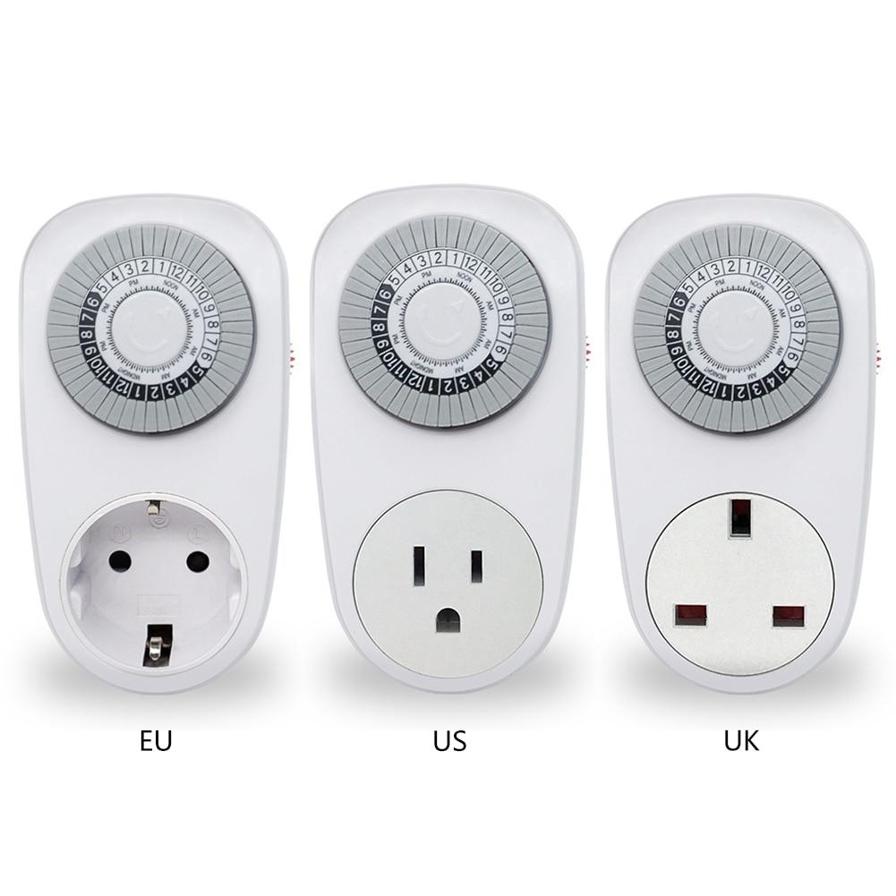 EU/US/UK Plug 24 Hour Timer Switch Socket Programmable Mechanical Electrical Outlet Program Timer Power Switch Converters