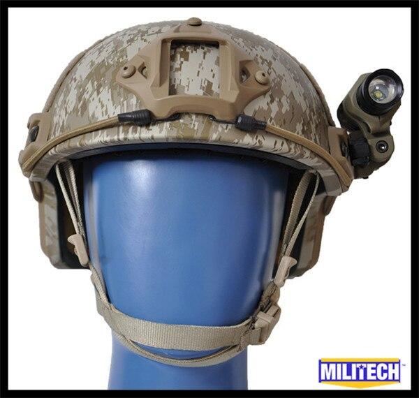 M/Lg AOR1 NIJ LVL IIIA Ballistic Imported Kevlar High Cut Bulletproof Helmet Desert Camo ACH MICH MC CAG Flashlight Set