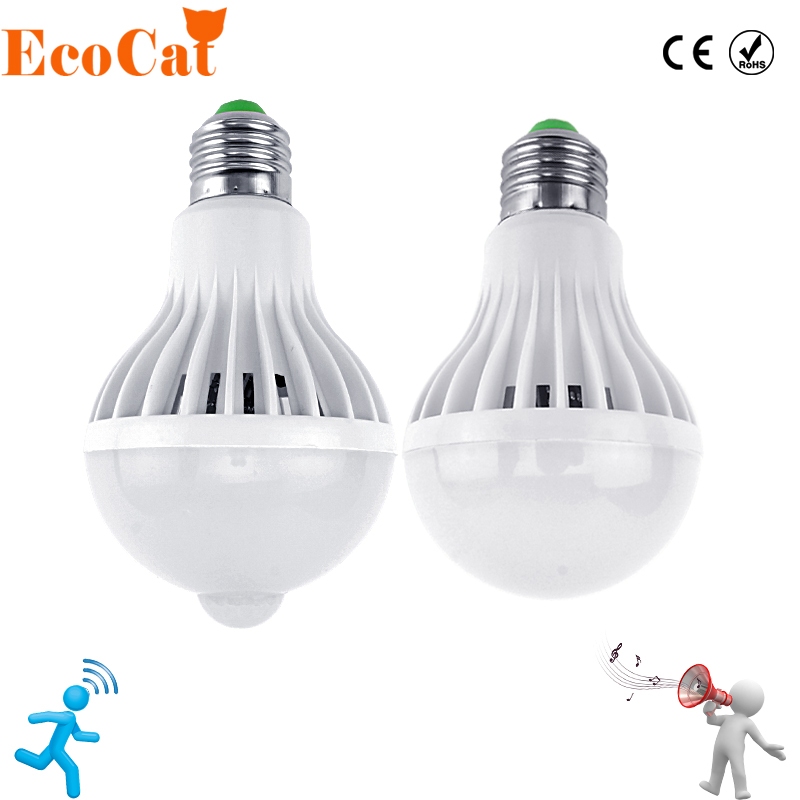 Эко Cat Светодиодные лампы движения Сенсор лампы 220 В E27 свет 3 Вт 5 Вт 7 Вт 9 Вт 12 Вт звук + свет авто Smart LED инфракрасный Средства ухода за кожей лампа