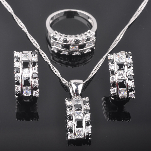 Fascinating Black Stone Cubic Zirconia Women's Silver Jewelry Sets Earrings/Pendant/Necklace/Rings Free Shipping QZ057