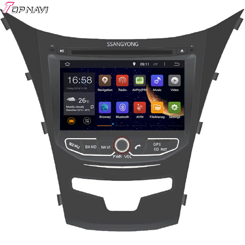 Topnavi 8'' Octa Core 4GB RAM Android 6.0 Car Radio Stereo GPS for SSANGYONG KORANDO 2013- Audio DVD Player image