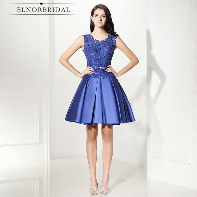 Elegante Blaue Kurze Abendkleider 2018 Vestido Azul Illusion Zurück ...