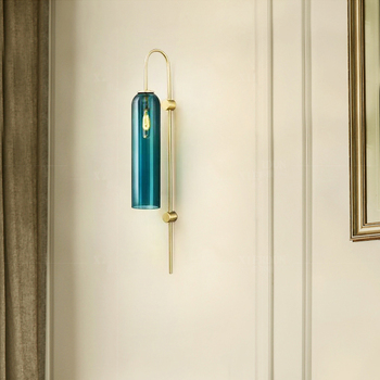 Abajur โพสต์โมเดิร์นสีฟ้าโคมไฟแก้ว Luster Led โคมไฟข้างเตียง e14 โคมไฟผนัง sconce Led Lamparas