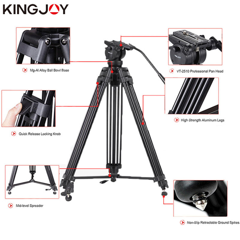KINGJOY Rəsmi VT-2500 Peşəkar İşıq Çəkmə Kamera Tripod Stand - Kamera və foto - Fotoqrafiya 3