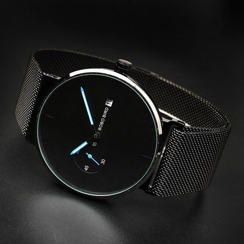 Image 3 - relogio masculino BOBO BIRD Men Watch Luxury Stainless Steel Date Display Quartz Watches Women Gifts Accept LOGO Drop ShippingQuartz Watches   -
