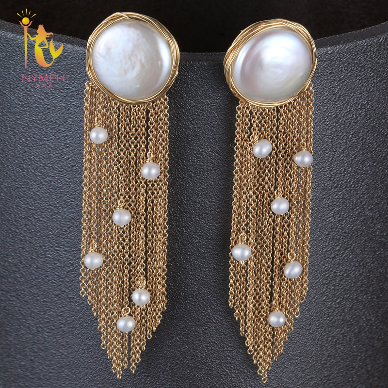 [NYMPH] Fine Jewelry Long Tassel Pearl Earrings Natural Big Baroque Pearl Drop Earrings For Women Party E321 yancey original design baroque pearl long tassel star luxurious big drop earrings 9k gold inlay the style of the goddess