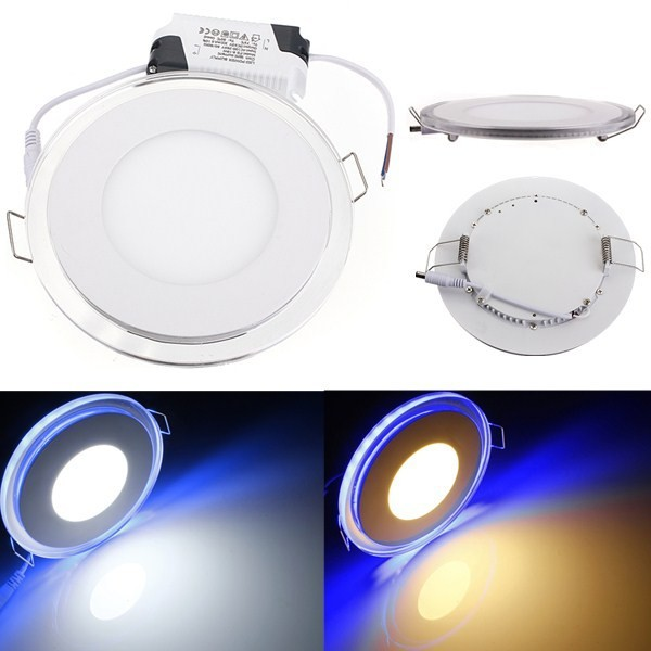 1pc 20W Acrylic panel downlight Recessed LED Spot Ceiling Down Light 85-265V warm/cold white top lighting + blue side lighting1pc 20W Acrylic panel downlight Recessed LED Spot Ceiling Down Light 85-265V warm/cold white top lighting + blue side lighting