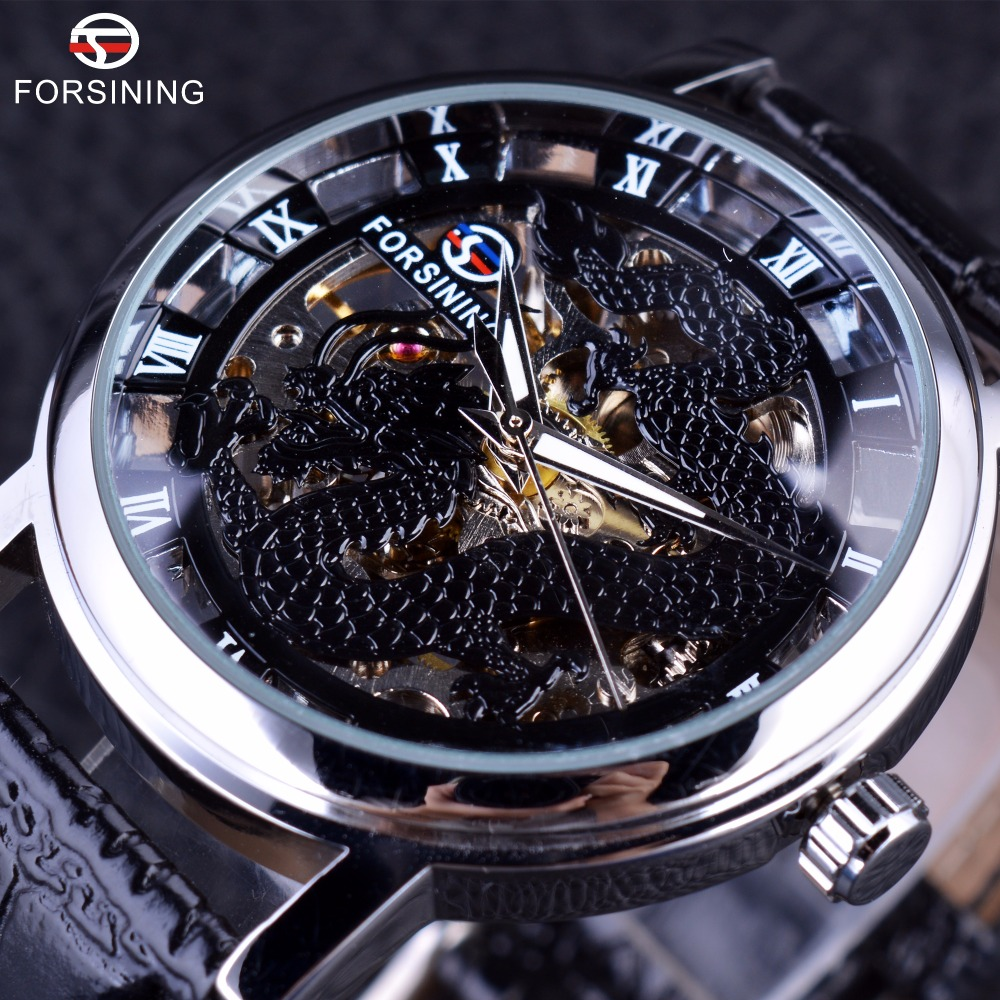 Forsining 2016 Dragon Series Transparent Silver Case Male Wrist Watch Mens Watches Top Brand Luxury Mechanical Skeleton Watch forsining 3d skeleton twisting design golden movement inside transparent case mens watches top brand luxury automatic watches