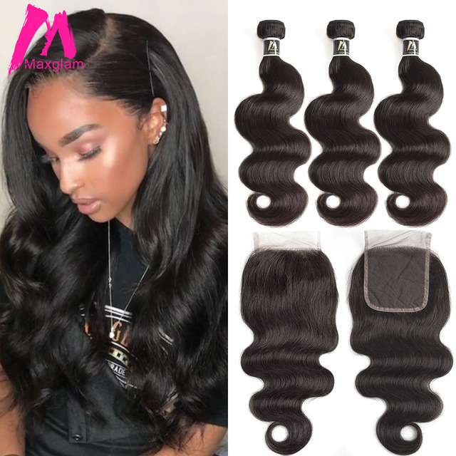 Maxglam Body Wave Human Hair Bundles With Closure 3 Virgin Brazilian Weave 1