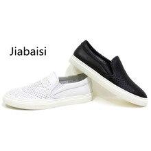 Jiabaisi обувь Мужская обувь повседневная лето homm chaussure обувь мужчины лазерная мужчины прохладный твердые мокасины комфорт обувь Из Натуральной кожи Коровы