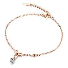 Aço inoxidável Mulher Bowknot Tornozeleiras Inlaied Estendido Chain link Rose Banhado A Ouro Cubic Zirconia Jóias Presente Bonito Para Meninas