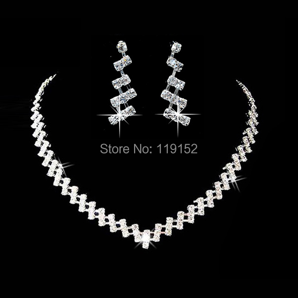 Hot Selling Wedding Jewelry Sets Crystal Bridal Jewelry Set Gifts Silver Choker Necklace Earrings Set Wedding Decoration
