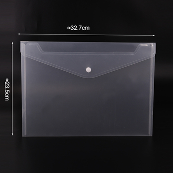 1PC Office A4 File Bag Transparent Plastic Thicken Button Closure Folder Filing Products Office School Supplies 2