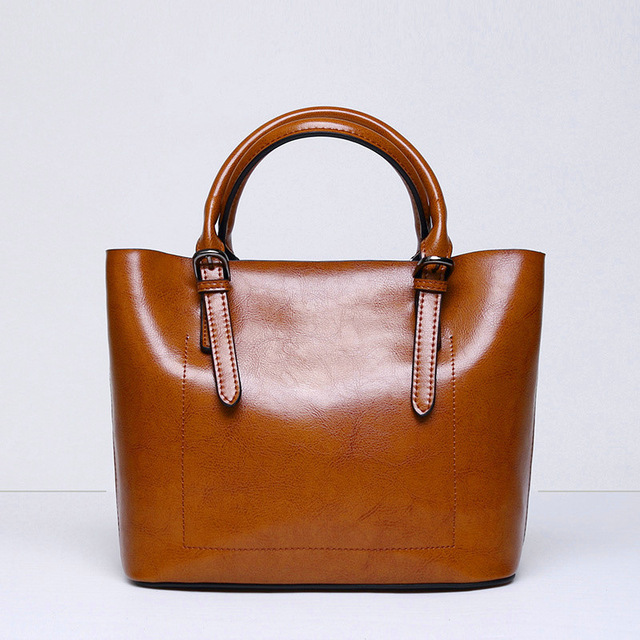 Brand Real Leather Handbags Ladies 100% Genuine Leather Tote Hand Bags Female Designer Shopper Shoulder Bags For Women