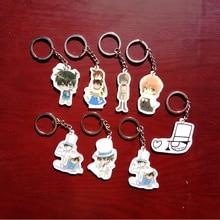 8pcs/set Anime Conan Mouri Ran Haibara Ai Detective Conan Kawaii Keychain KeyHolder Pendant Portachiavi Present Gift