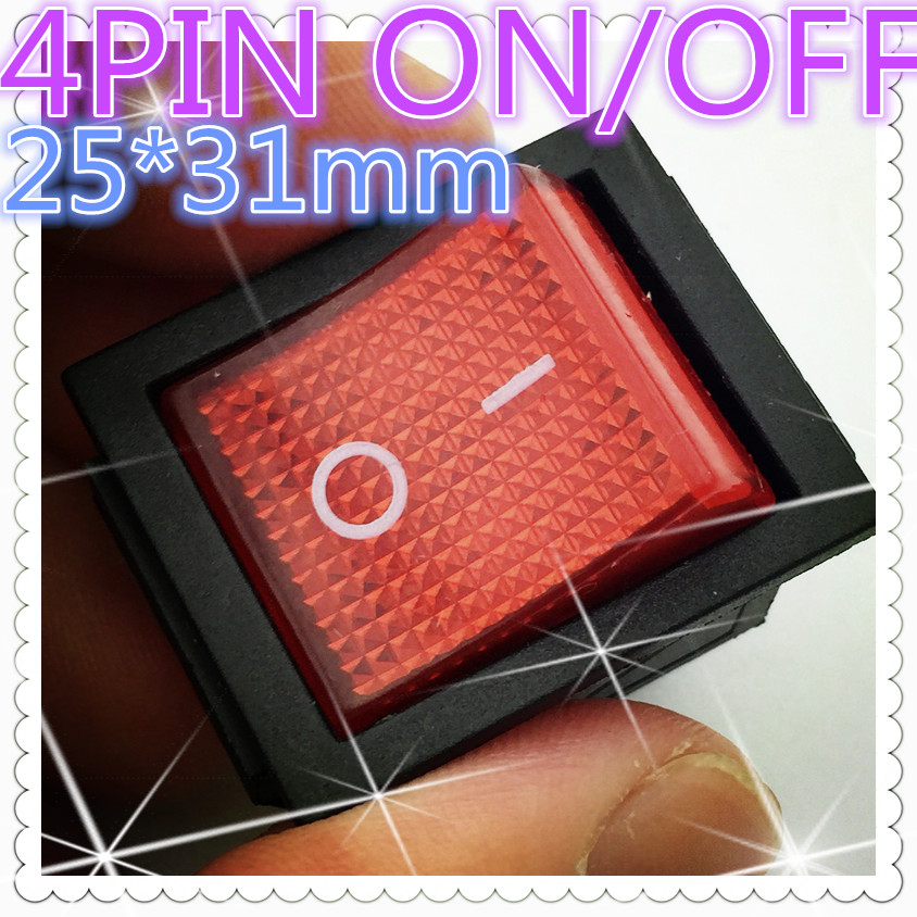 2pcs G126 RED LED Light 25*31mm SPST 4PIN ON/OFF Boat Rocker Switch 16A/250V 20A/125V Car Dash Dashboard Truck RV ATV Sell Loss 10pcs lot ac 6a 250v 10a 125v red light 3 pin on off spst snap in boat rocker switch g205m best quality