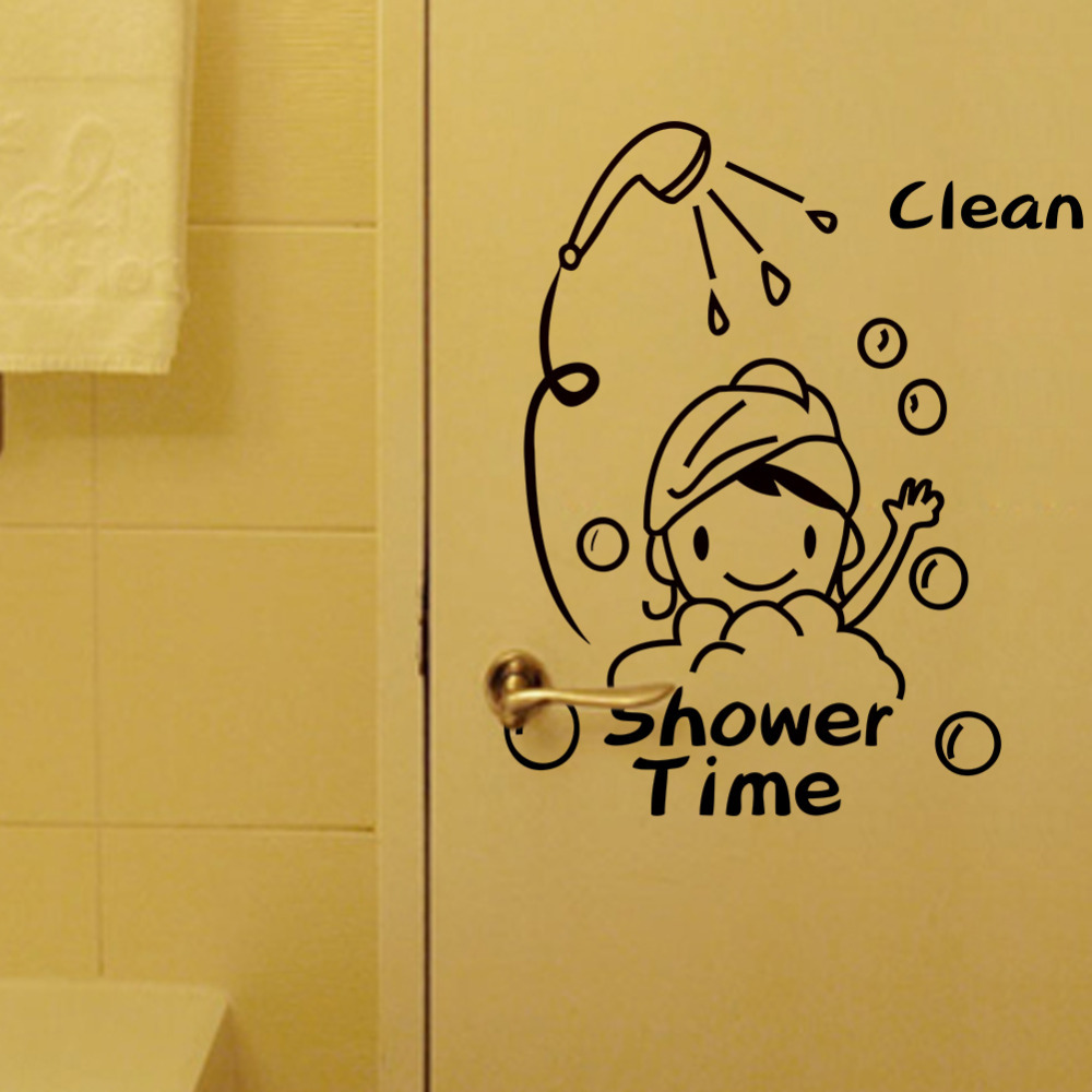 PVC Waterproof I Love Shower Wall Stickers Bathroom Glass Door ...