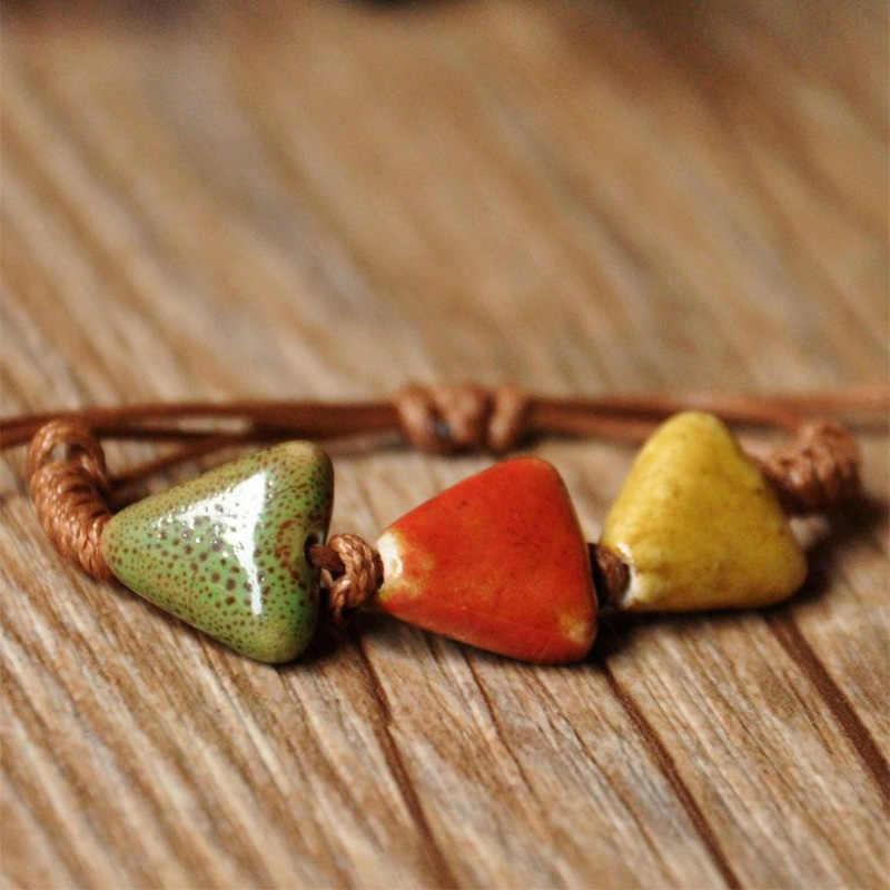 Подвески в виде керамических бусин браслет Сердце Браслеты манжетного типа Браслет «Love» браслет-цепочка Регулируемый Для женщин Модные украшения Аксессуары