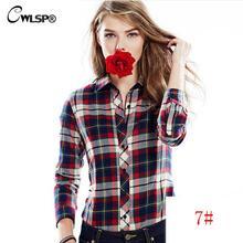 CWLSP Plus size Casual Cotton Plaid Flannel Shirt Female Blouses Womens Shirts Turn Down Collar Tartan