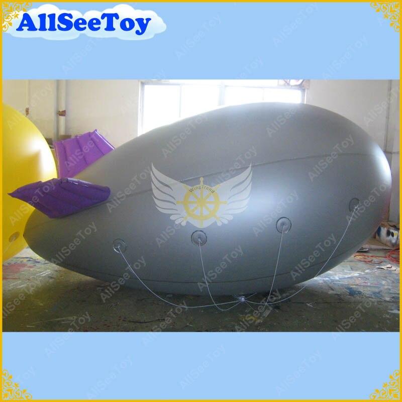 Красивые Дизайн 13ft/4 М длинные серебряные надувные дирижабль/Zeppelin с фиолетовыми крыльями для рекламы/ DHL