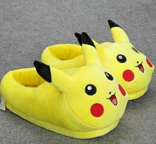Pikachu Slippers Cartoon Plush Slipper With Full Expression Women Slippers Mens Emoji Home Slippers Winter House Children Shoes