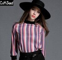 2017 Women Summer Spring Newest Rainbow Striped Chiffon Shirts With Three Quarter Sleeve Fashion Plus Size